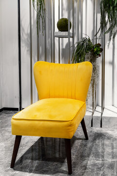 Trendy yellow colored chair on ultimate gray interior background. Colors of the year 2021.