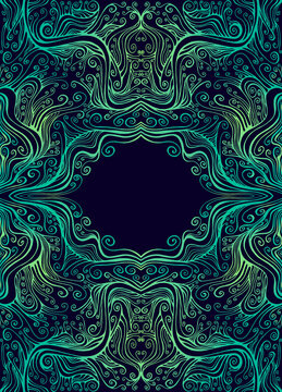 Vintage amazing symmetrical psychedelic frame with place for text, consisting of graceful curls patterns, gradient emerald yellow color contour, isolated on dark.