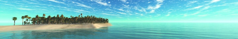 Sea island panorama, sea landscape panorama, tropical island panorama, 3D rendering