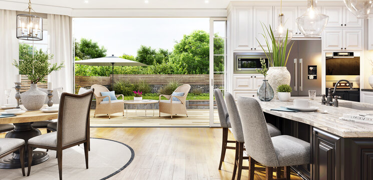 Beautiful open plan kitchen and dining area with patio doors to the garden