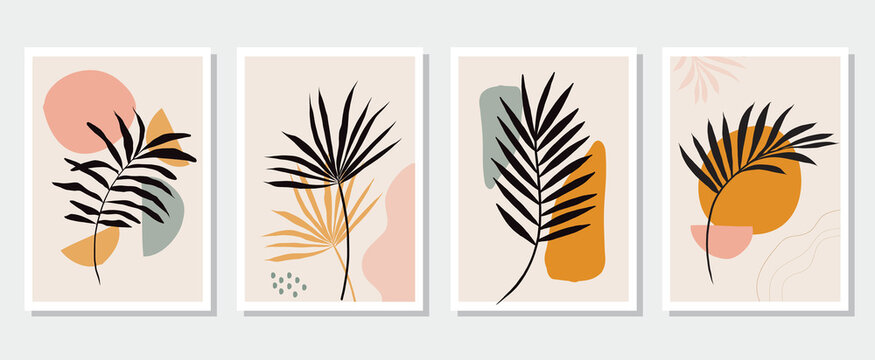 Collection of contemporary art posters Botanical wall art Abstract leaves foliage organic shapes. vector set Design for print cover wallpaper social media