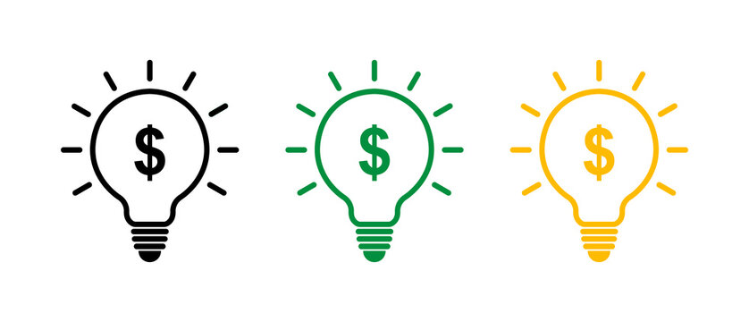 Money, idea, icon set. Light bulb and money, business concept. Seed capital linear icon, funding. Vector illustration.