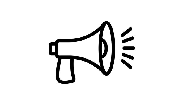 Megaphone icon. Loudspeaker linear vector illustration. Speech and announcement symbol.