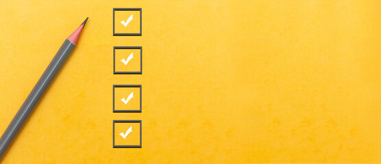 Fototapeta marking on checklist box. Checklist concept, copy space