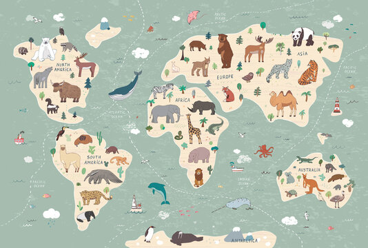 Animals vector hand drawn world map