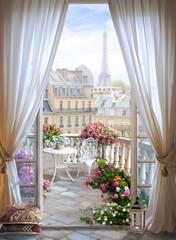 Obraz Okno z widokiem na Paryż - fototapety do salonu