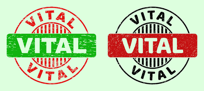 VITAL bicolor round rubber imitations with distress style. Flat vector distress stamps with VITAL phrase inside round shape, in red, black, green colors. Rounded bicolor seal stamps.