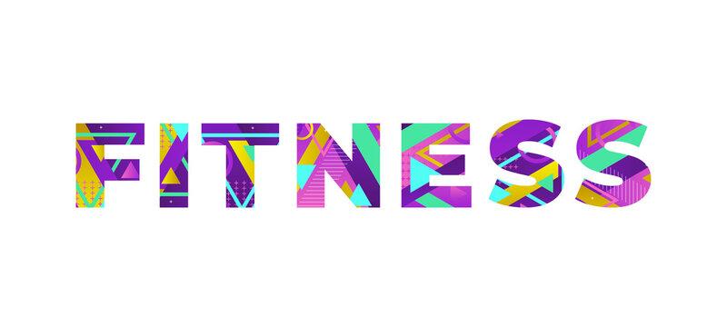Fitness Concept Retro Colorful Word Art Illustration