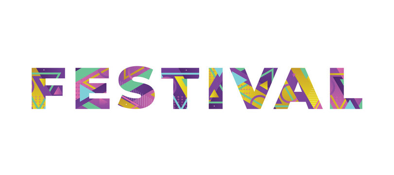 Festival Concept Retro Colorful Word Art Illustration