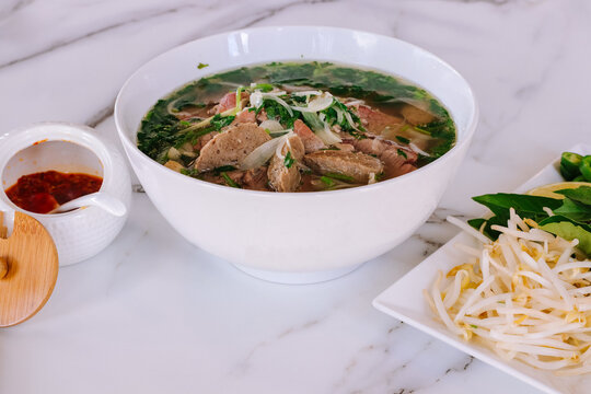 Beef Pho with sides