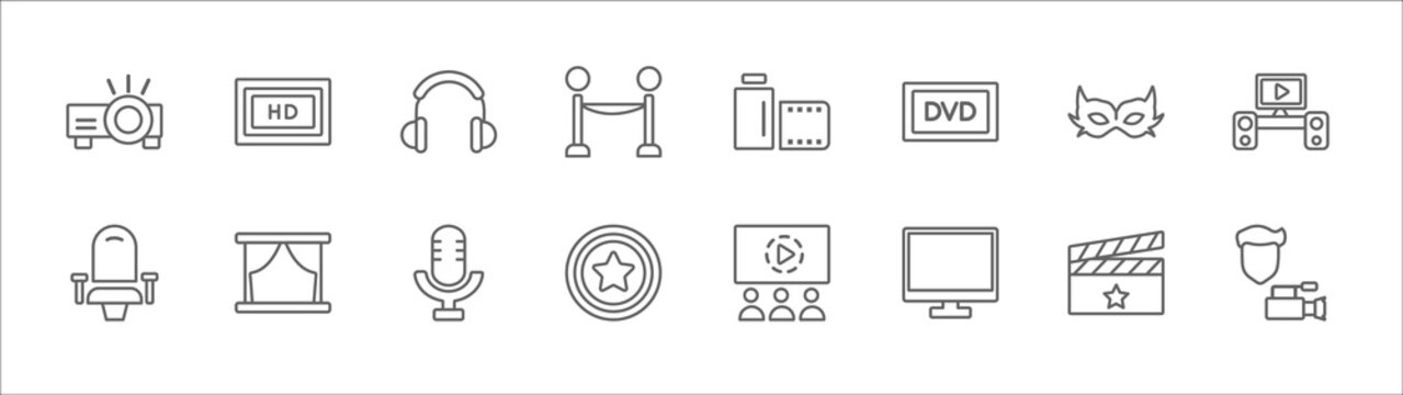 outline set of cinema line icons. linear vector icons such as hd, headphone, camera roll, small carnival mask, home theater, theatre seats, theatre screen, studio mic, award, flat tv, cameraman