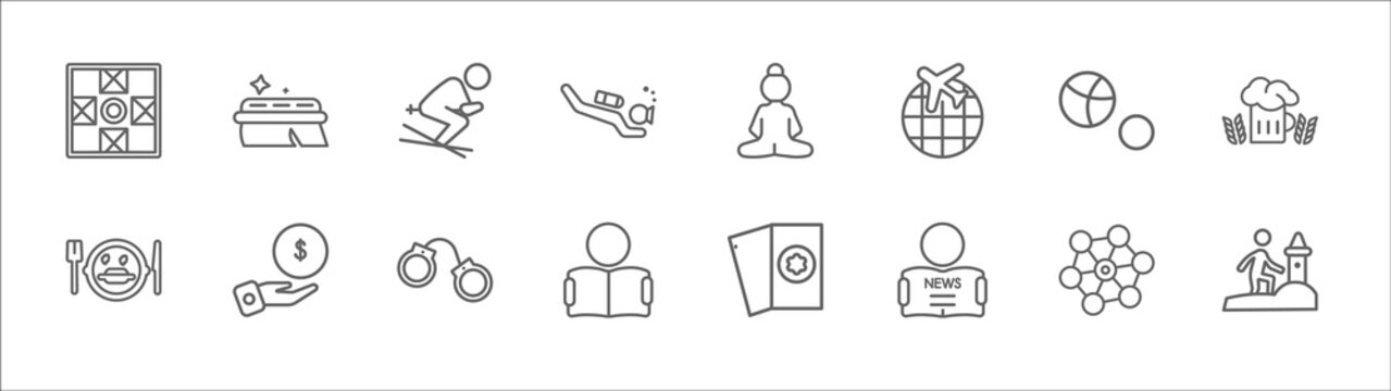 outline set of activity and hobbies line icons. linear vector icons such as cleaning, skiing, meditating, petanque, brewing, eating, collecting, arrest, boy reading, newspaper readign, sand art