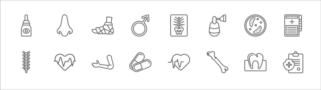 outline set of medical line icons. linear vector icons such as nose, plaste foot, x ray, germs, medical records, spinal column, lifeline, arm, pill, femur, medical insurance