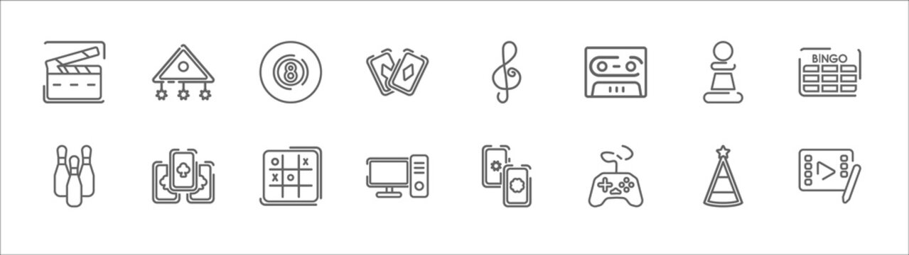 outline set of entertainment and arcade line icons. linear vector icons such as childhood, eight ball, g clef, chess piece, bingo, bowling pins, ace of clubs, tic tac toe, pc, gamepad, video editing