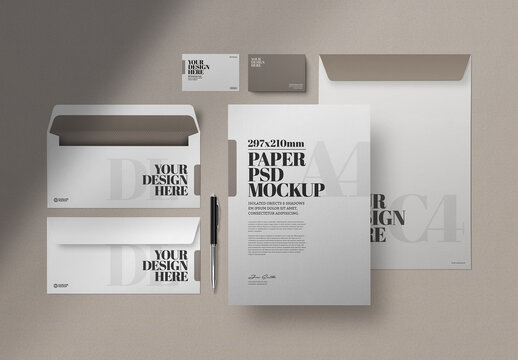 Stationery Mockup, Business Card, and Envelopes