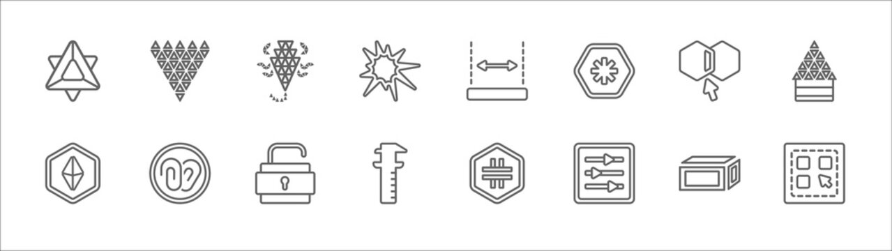 outline set of geometry line icons. linear vector icons such as polygonal diamond shape of small triangles, polygonal scorpion, dimension, join, polygonal house or home building, octahedron, attach,