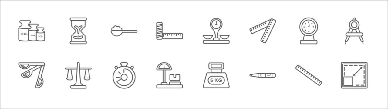 outline set of measurement line icons. linear vector icons such as sand clock almost finish, full spoon, groceries store scale, manometer, open compass, three measuring spoons, roman scale,