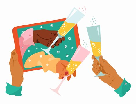 Online Celebration. Hands Holding The Glasses Of Champagne. Online celebration of Christmas and New Year. New normal. Virtual meeting at Tablet or Laptop.  Flat vector illustration.