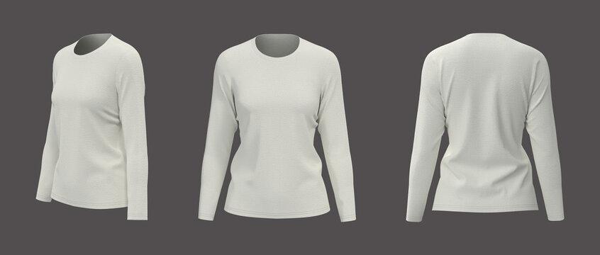Women's long sleeve  t-shirt mockup, front, side and back views, design presentation for print, 3d illustration, 3d rendering