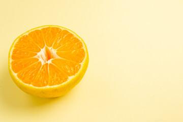 front view fresh tangerine slice on white background fruit photo citrus orange color fresh free...