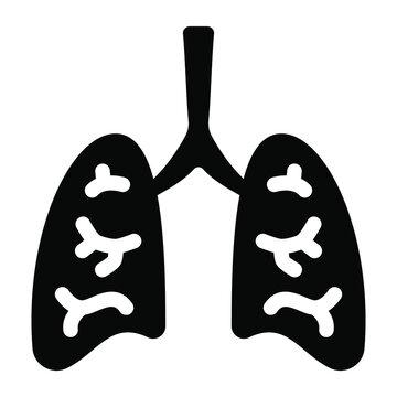 Human respiratory organ, lungs icon in glyph design