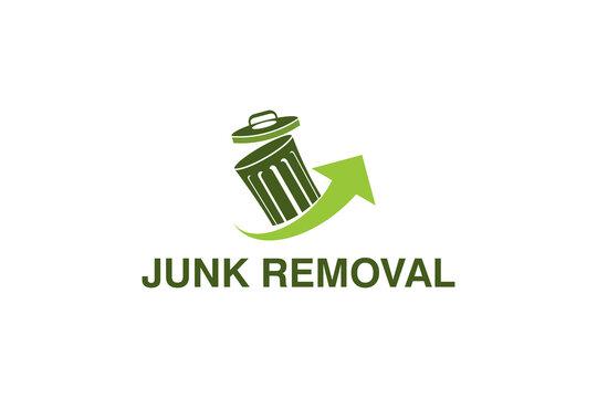 Junk removal logo design, environmentally friendly garbage disposal service, simple minimalist design icon.