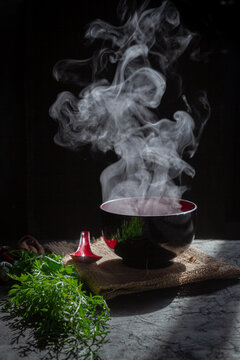Steam of hot soup with