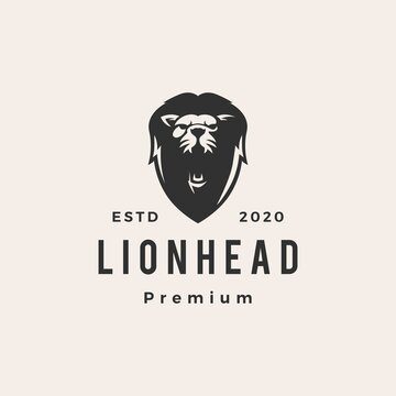 lion head hipster vintage logo vector icon illustration