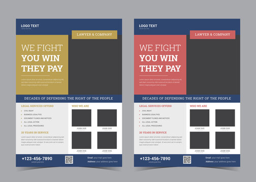 law flyer template. advocate promotion.
