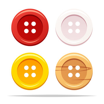 Clothing sewing buttons vector isolated illustration