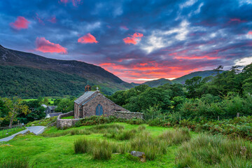 St James' Church at sunset in Buttermere village. Lake District. Cumbria