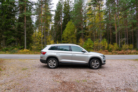 Sweden,Vimmerby-October 2020: Skoda Kodiaq parked in forest Mid size SUV manufactured by the Czech automaker Skoda Auto
