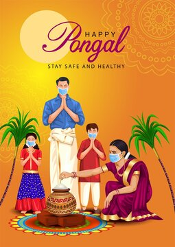 Happy Pongal celebration with sugarcane, Rangoli, pot and rice. Tamil family offering prayers. Indian cultural festival celebration concept vector illustration greetings. covid 19, coronavirus concept
