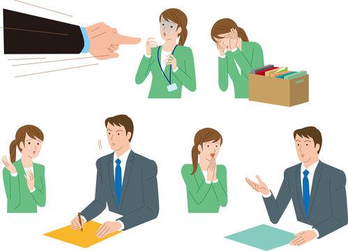 労働トラブル。突然の解雇を相談する若い女性社員