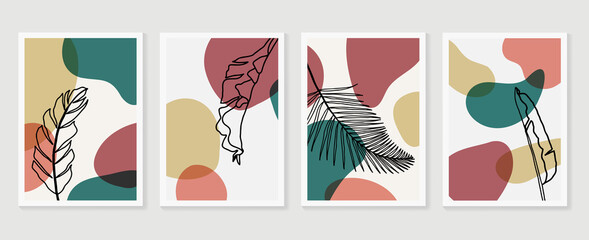 Fototapeta Botanical wall art vector set. Earth tone boho foliage line art drawing with  abstract shape.  Abstract Plant Art design for wall framed prints, canvas prints, poster, home decor, cover, wallpaper.