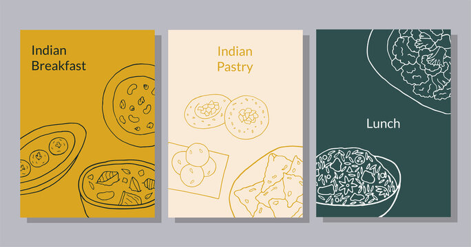 Hand drawn poster set with curry, malai kofta, navratan korma, aloo gobi, biryani, samosa, laddu, rasmalai. Design sketch element for menu cafe, restaurant, bakery and packaging.  Vector illustration.