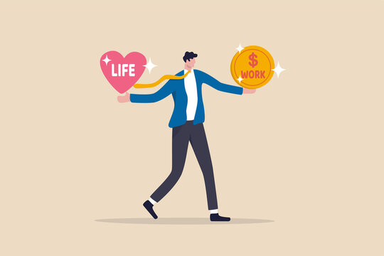 Work life balance, choose between spend your time with family and yourself or hard work to make money concept, confuse businessman with big coin with the word work and life heart shape in other hand.