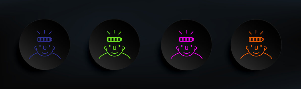 full on mind dark badge color set. Simple thin line, outline vector of what is in your mind icons for ui and ux, website or mobile application