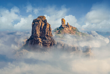 Wall Mural - Landscape with Roque Bentayga and Roque Nublo in the background, Gran Canaria, Canary Islands, Spain