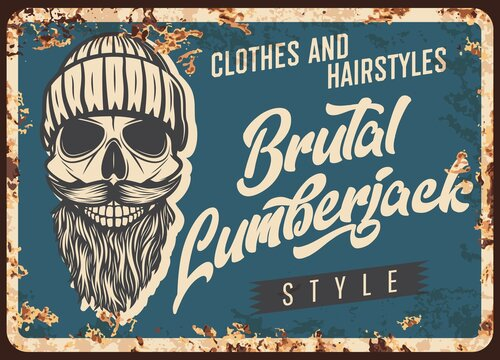 Lumberjack skull with beard, metal rusty plate or retro poster, vector. Lumber jack hipster man vintage clothes store or hairstyle barbershop metal sign plate rust, skull in knitted hat with mustaches