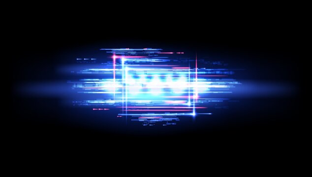 Neon glitch flare and digital noise vector background with blue and pink lights pixel mosaic. TV or computer screen with futuristic shapes and glowing lines pattern of television no signal effects