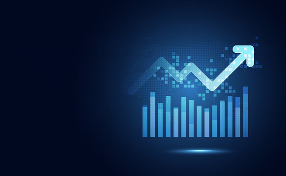 Futuristic blue rise up bar chart with arrow abstract technology background. Economy and financial concept. Stock money profit investment progress