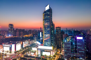 Aerial photography of modern Chinese urban architecture landscape night view