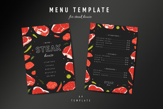 Steak house menu template, meat restaurant menu card design layout. Hand drawn illustration of beefsteaks rib eye and t-bone on black background. Steakhouse flyer or banner with price