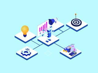Fototapeta 3d, ai, artificial, automated, automatic, automation, bullseye, business, change, chart, cogwheel, computing, concepts, dartboard, digital, efficiency, evolution, finance, financial, future, gear, gra obraz