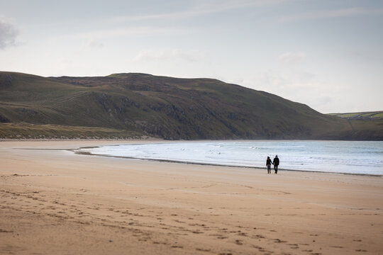 Romantic Stroll on Tramore Beach sand County Donegal Ireland