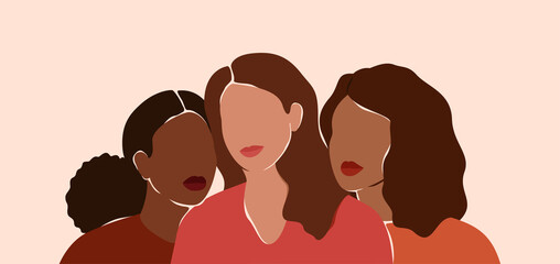 Fototapeta Three beautiful women with different skin colors together. African, latin and caucasian girls stand side by side. Sisterhood and females friendship.  Vector illustration for International Women's day