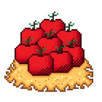 Illustration pixel art apples. Vector picture. Apple on paper pixel art.