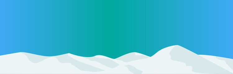 Snowy mountains and blue sky. sunny sky, snow, cool, vector illustration, graphic, landscape, web banner, web header, green, white, blue,
