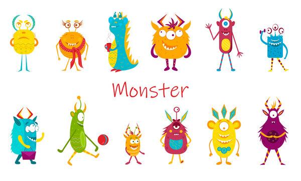 Set of cartoon monsters. Halloween monster set collection. Vector illustration
